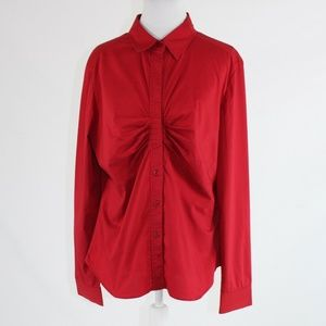 Red NEW YORK & COMPANY button down blouse 16